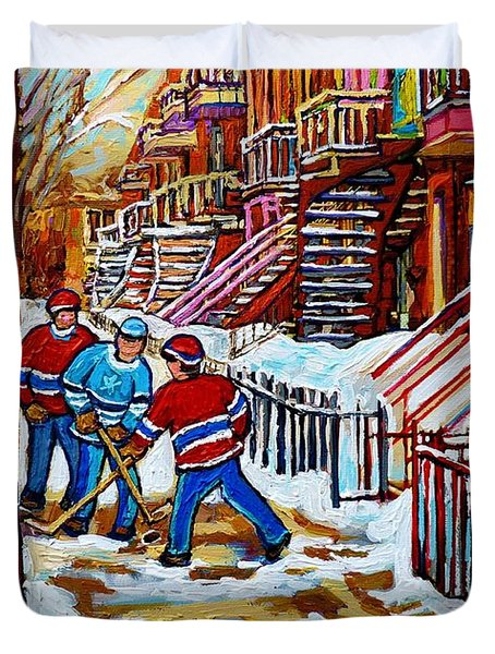Art Of Verdun Staircases Montreal Street Hockey Game City Scenes By Carole Spandau Duvet Cover by Carole Spandau