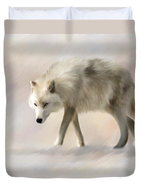 Arctic Wolf Duvet Cover by Johanne Dauphinais
