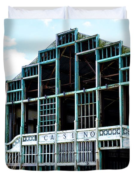 Asbury Park Casino - My City In Ruins Duvet Cover by Bill Cannon