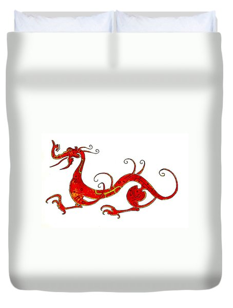 Asian Dragon Duvet Cover by Michael Vigliotti