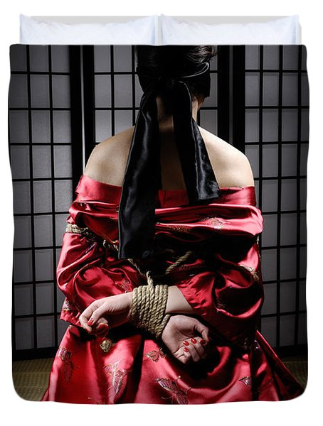 Asian Woman With Her Hands Tied Behind Her Back Duvet Cover by Oleksiy Maksymenko