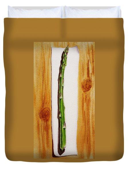 Asparagus Tasty Botanical Study Duvet Cover by Irina Sztukowski