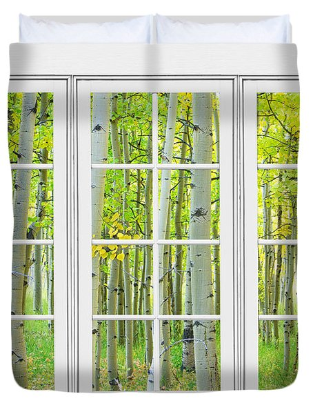 Aspen Tree Forest Autumn Time White Window View  Duvet Cover by James BO  Insogna