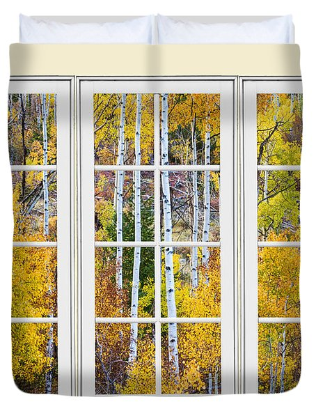 Aspen Tree Magic Cream Picture Window View 3 Duvet Cover by James BO  Insogna