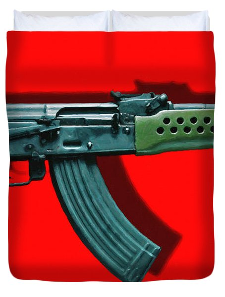 Assault Rifle Pop Art - 20130120 - v1 Duvet Cover by Wingsdomain Art and Photography