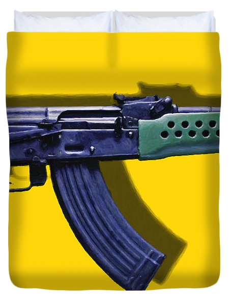 Assault Rifle Pop Art - 20130120 - v2 Duvet Cover by Wingsdomain Art and Photography