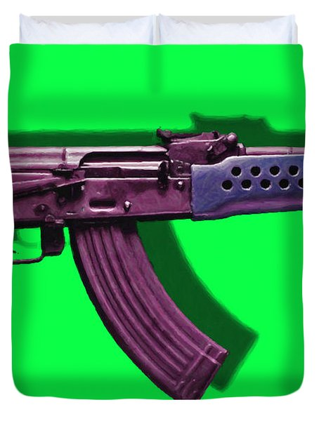 Assault Rifle Pop Art - 20130120 - v3 Duvet Cover by Wingsdomain Art and Photography