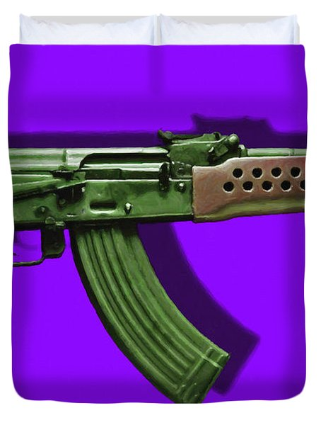 Assault Rifle Pop Art - 20130120 - v4 Duvet Cover by Wingsdomain Art and Photography