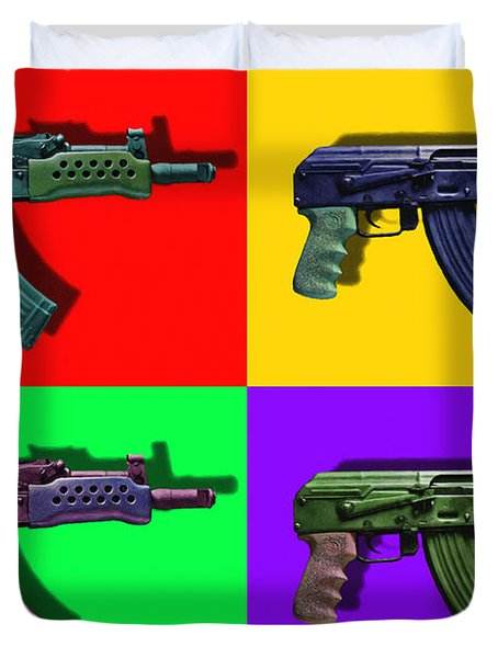 Assault Rifle Pop Art Four - 20130120 Duvet Cover by Wingsdomain Art and Photography