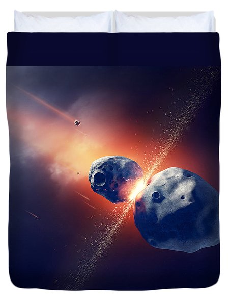 Asteroids Collide And Explode  In Space Duvet Cover by Johan Swanepoel