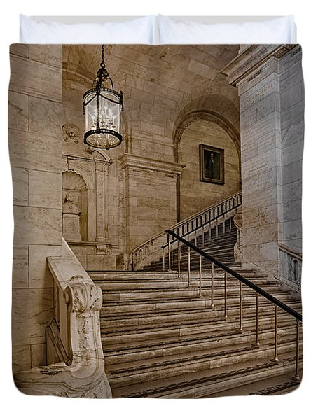 Astor Hall NYPL Duvet Cover by Susan Candelario