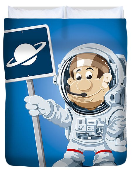 Astronaut Cartoon Man Duvet Cover by Frank Ramspott