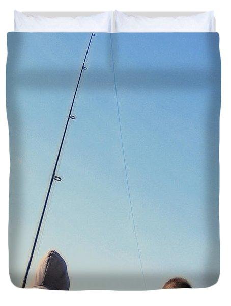 At Fishing Duvet Cover by Karol Livote