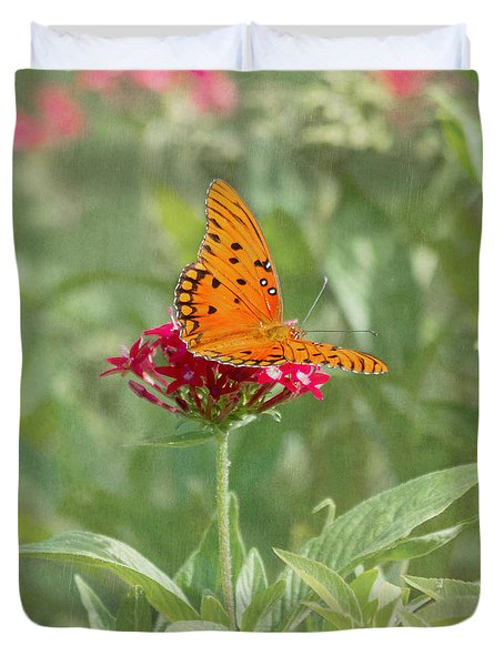 At Rest - Gulf Fritillary Butterfly Duvet Cover by Kim Hojnacki