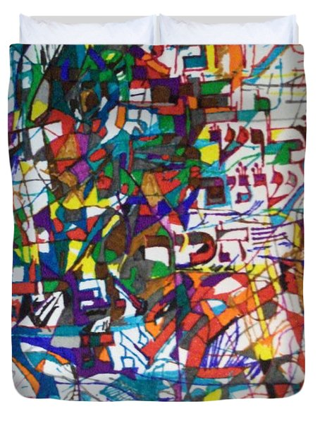 at the age of three years Avraham Avinu recognized his Creator Duvet Cover by David Baruch Wolk