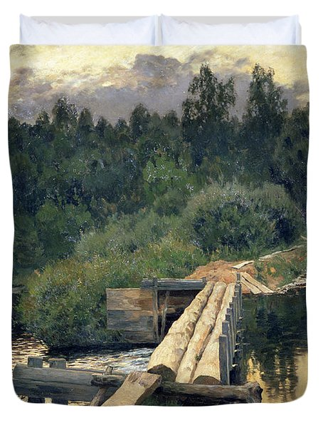 At The Shallow Duvet Cover by Isaak Ilyich Levitan