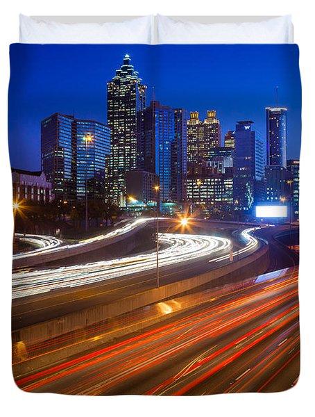 Atlanta Interstate I-85 By Night Duvet Cover by Inge Johnsson