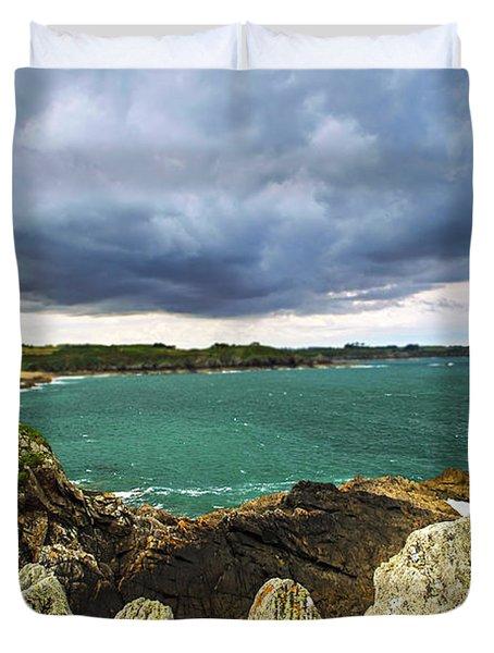 Atlantic Coastline In Brittany Duvet Cover by Elena Elisseeva