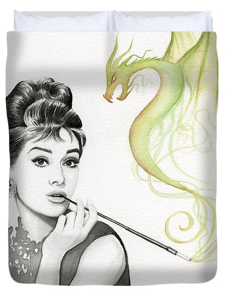 Audrey And Her Magic Dragon Duvet Cover by Olga Shvartsur