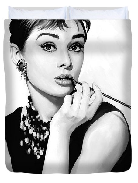 Audrey Hepburn Artwork Duvet Cover by Sheraz A