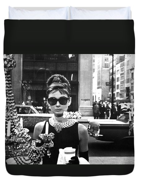 Audrey Hepburn Breakfast At Tiffany's Duvet Cover by Nomad Art