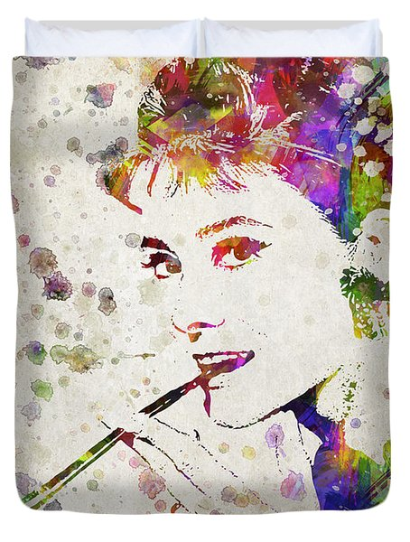 Audrey Hepburn In Color Duvet Cover by Aged Pixel