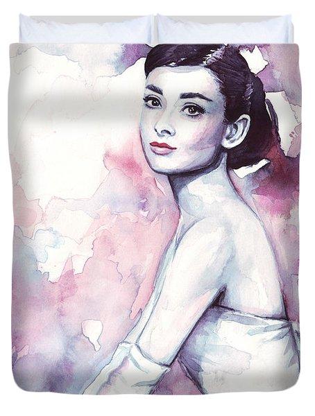 Audrey Hepburn Purple Watercolor Portrait Duvet Cover by Olga Shvartsur