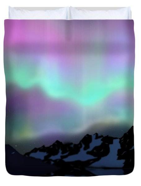 Aurora Over Lake Duvet Cover by Atiketta Sangasaeng