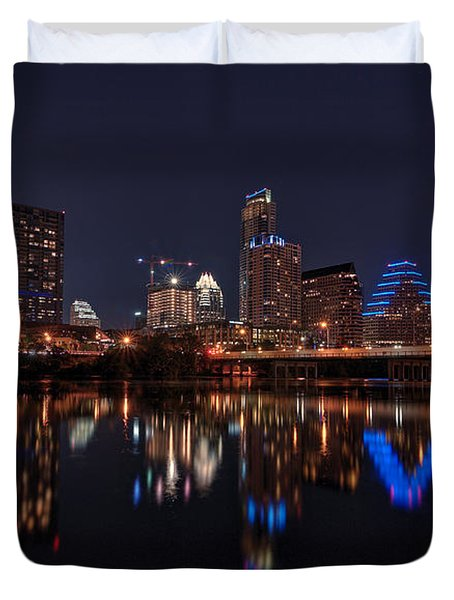 Austin Skyline At Night Duvet Cover by Todd Aaron