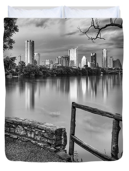 Austin Texas Skyline Lou Neff Point In Black And White Duvet Cover by Silvio Ligutti