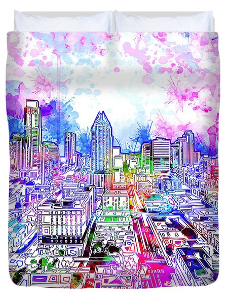 Austin Texas Watercolor Panorama Duvet Cover by Bekim Art