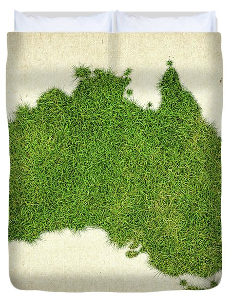 Australia Grass Map Duvet Cover by Aged Pixel