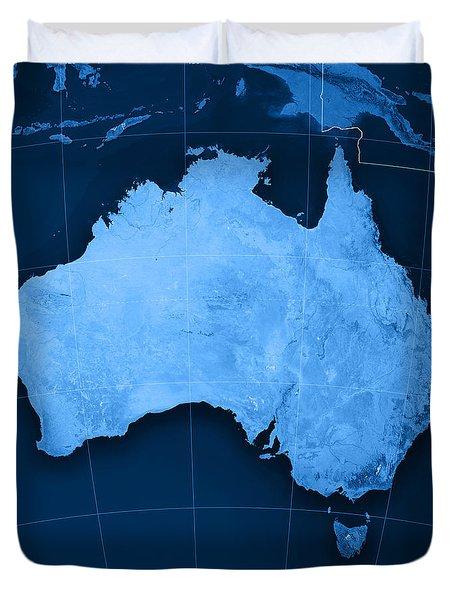 Australia Topographic Map Duvet Cover by Frank Ramspott