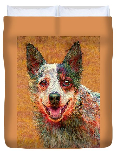 Australian Cattle Dog Duvet Cover by Jane Schnetlage