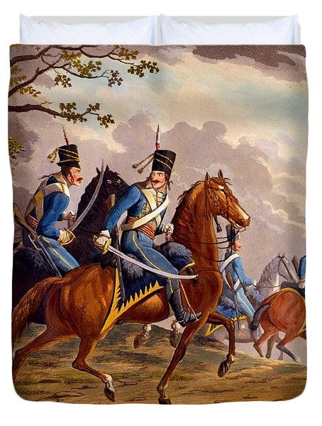Austrian Hussars In Pursuit Duvet Cover by Conrad Gessner