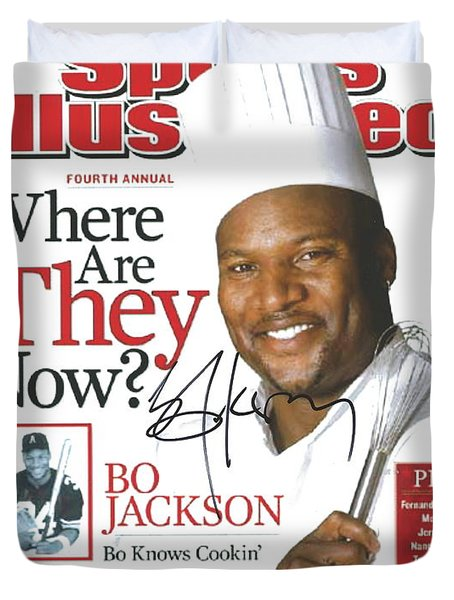 Autographed Sports Illustrated Cover By Bo Jackson Bo Knows Cookin' Duvet Cover by Desiderata Gallery