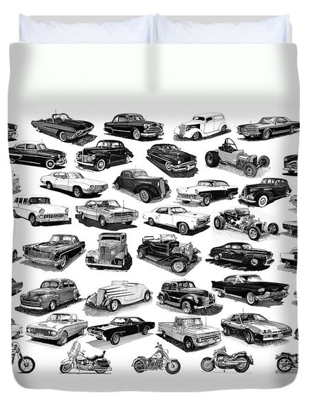 AUTOMOTIVE PEN AND INK POSTER Duvet Cover by Jack Pumphrey