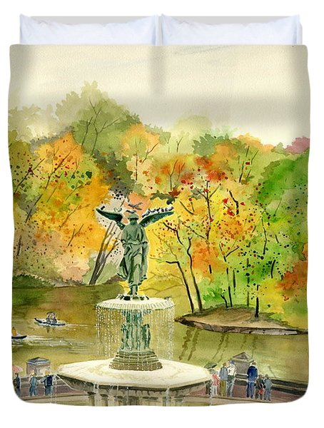 Autumn At Central Park Ny Duvet Cover by Melly Terpening