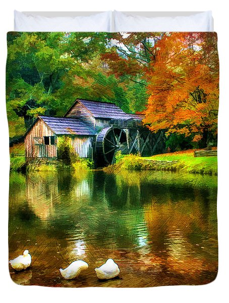 Autumn at the Mill Duvet Cover by Darren Fisher
