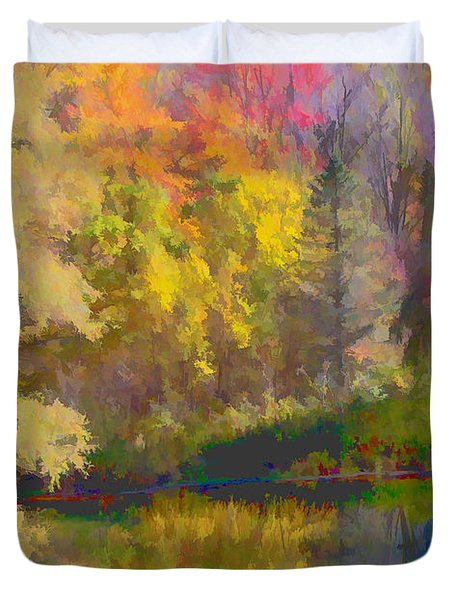 Autumn Beside the Pond Duvet Cover by Don Schwartz