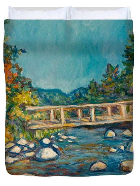 Autumn Bridge Duvet Cover by Kendall Kessler