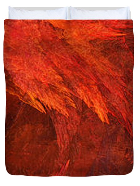 Autumn Fire Pano 2 Vertical Duvet Cover by Andee Design
