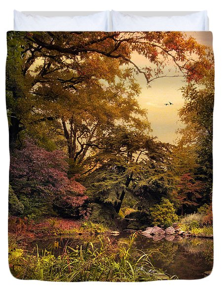 Autumn Garden Sunset Duvet Cover by Jessica Jenney