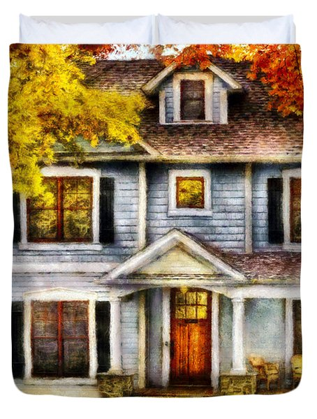 Autumn - House - Cottage  Duvet Cover by Mike Savad