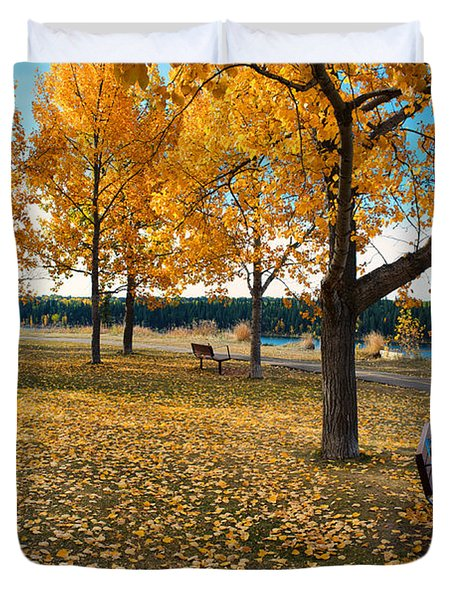Autumn In Calgary Duvet Cover by Trever Miller