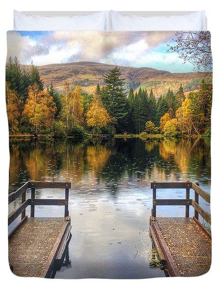 Autumn In Glencoe Lochan Duvet Cover by Dave Bowman