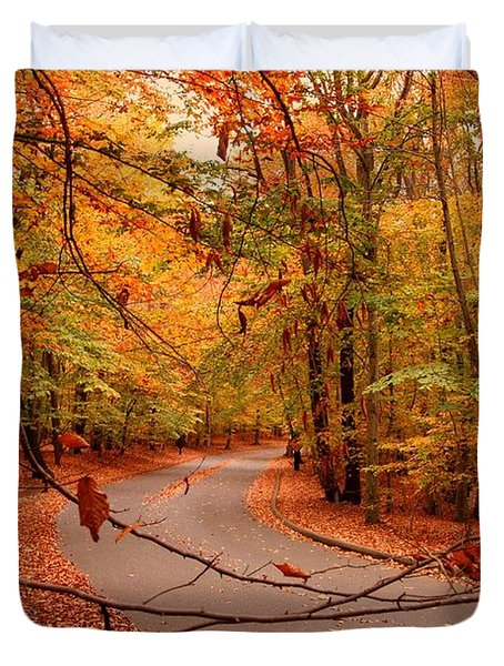 Autumn In Holmdel Park Duvet Cover by Angie Tirado
