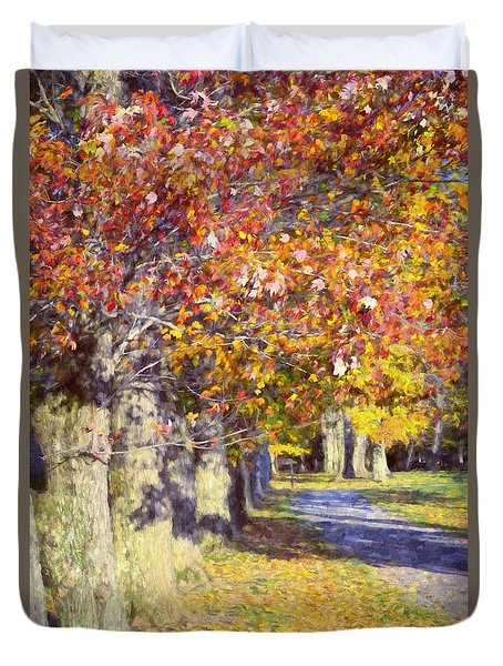 Autumn In Hyde Park Duvet Cover by Joan Carroll