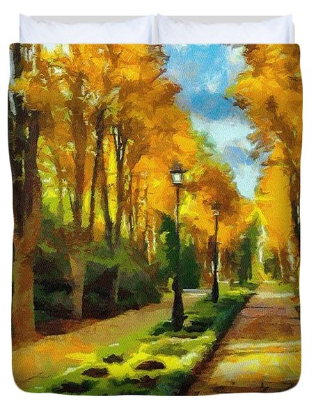 Autumn In Public Gardens Duvet Cover by Jeff Kolker