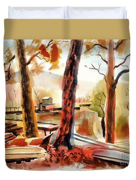 Autumn Jon Boats II Duvet Cover by Kip DeVore